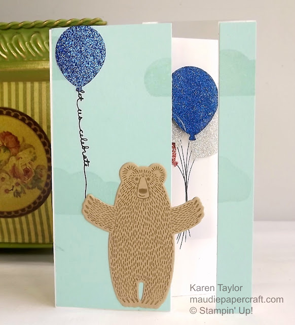 Stampin' Up! Bear hugs card with acetate and balloons