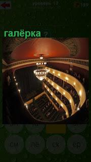 с галерки в театре открывается вид вниз на сцену и зрителей в партере