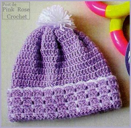 f30ede8efcdf3 Pink Rose Crochet  Touca Gorro para Bebê