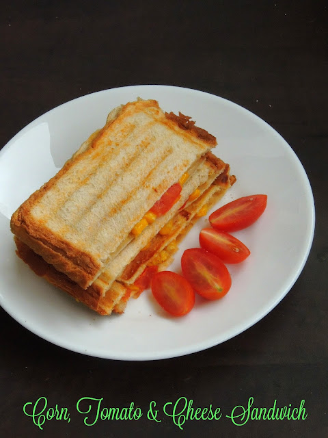 Grilled corn,tomato & cheese sandwich, Sweet corn sandwich
