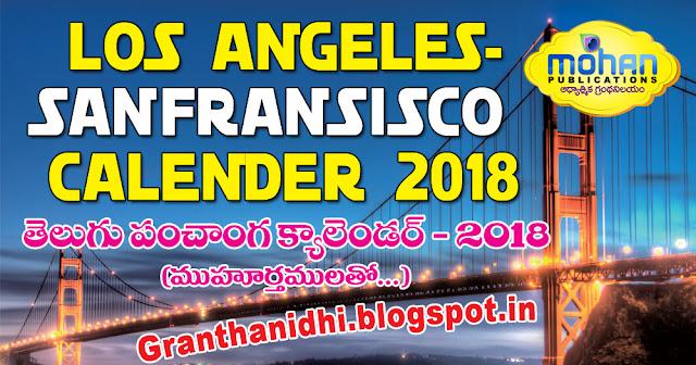 2018_LosAngeles_Sanfransisco_Telugu_Panchang_Calender