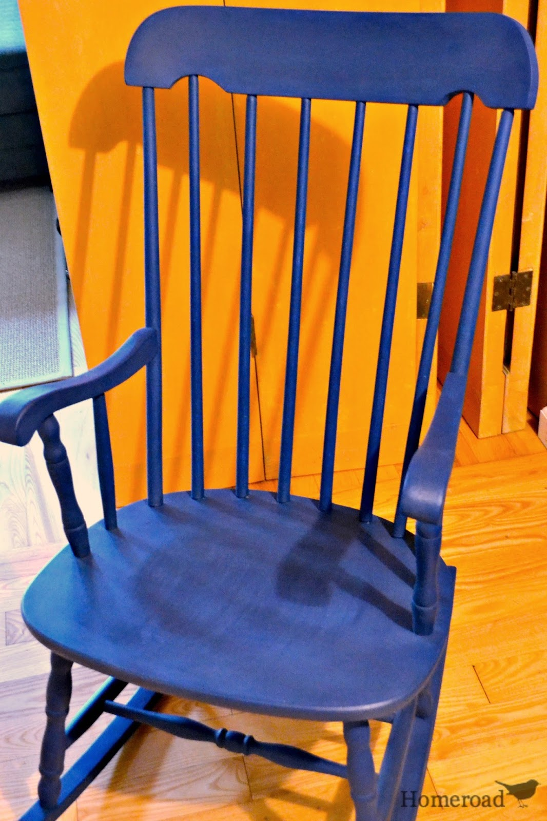 Navy Rocking Chair Armless Accent Chairs With Grain Sack Cushion Homeroad