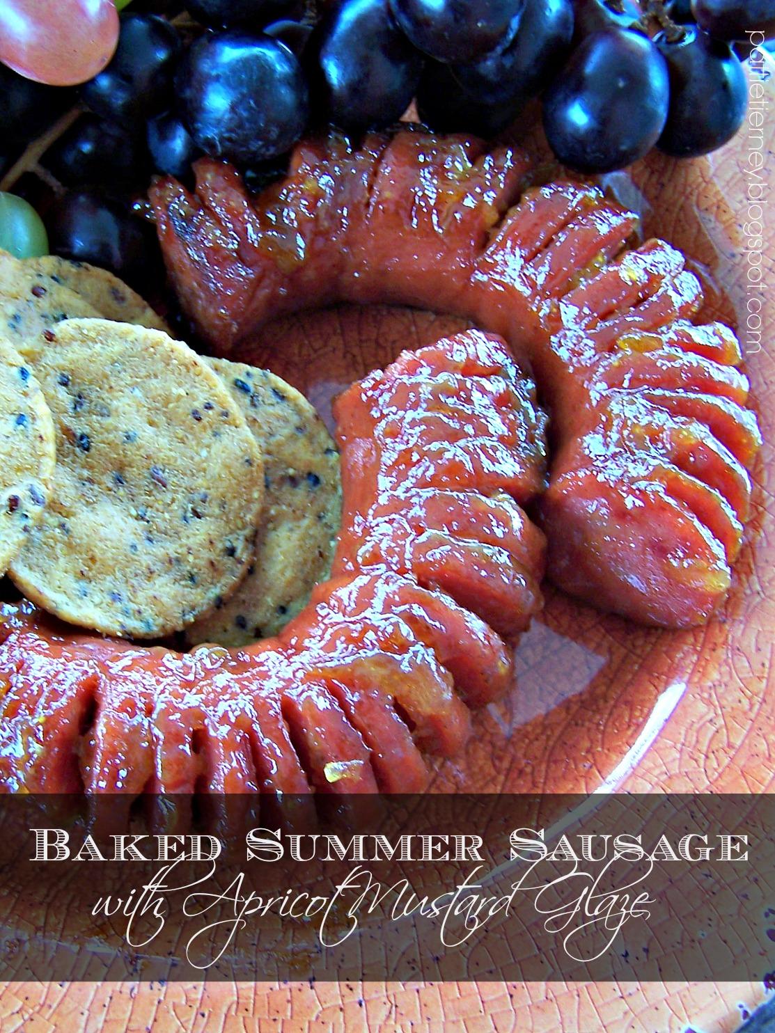 f30354e3a9a7 Olla-Podrida  Baked Summer Sausage with Apricot Mustard Glaze