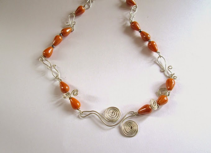 Orange Tear-drop and Silver Wire Necklace..