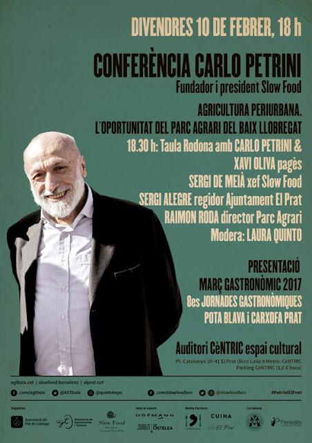 Conferència de Carlo Petrini, fundador del moviment Slow Food, el dia 10 de febrer al Prat del Llobregat