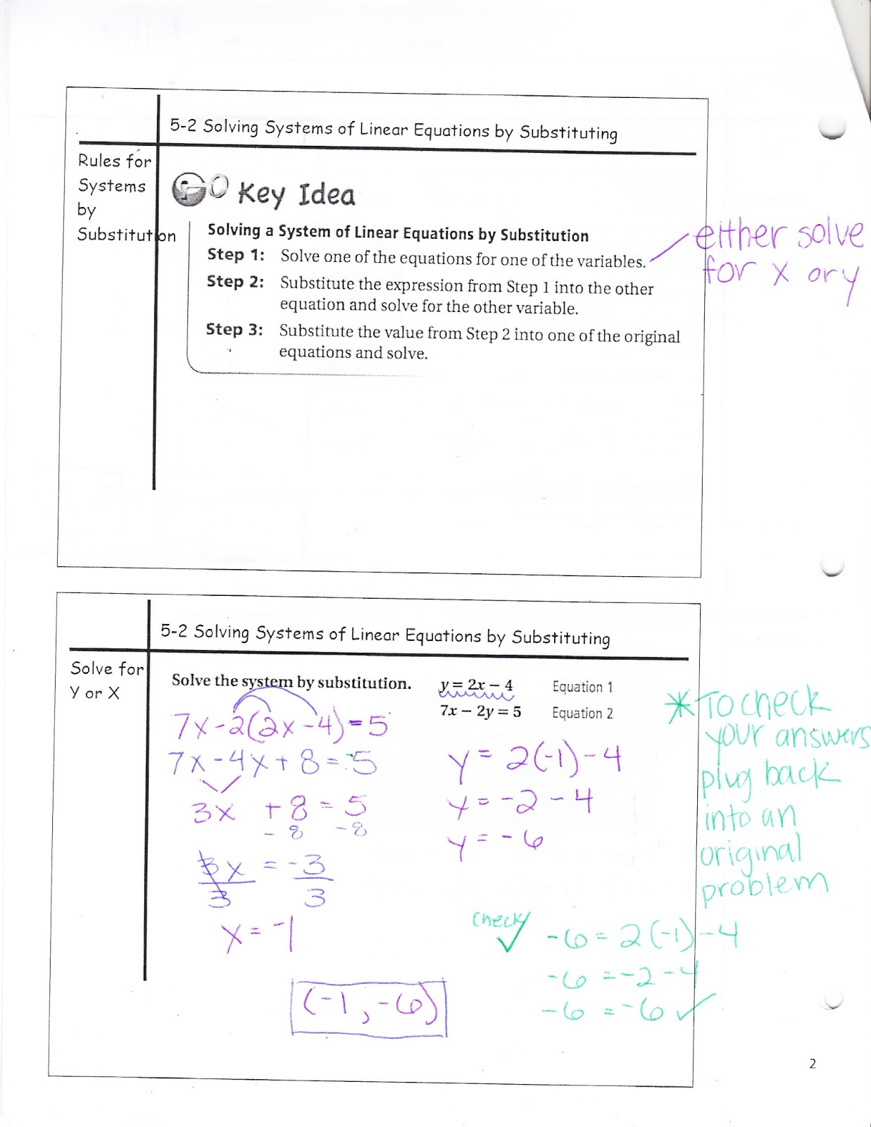 Ms Jean S Accel 7 Blog 5 2 Solving Systems Of Linear Equations By Substituting