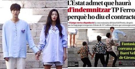 Phim Lee Min Ho và Jun Ji Hyun lên báo Tây Ban Nha vì đánh nhau ngoài đường-2016