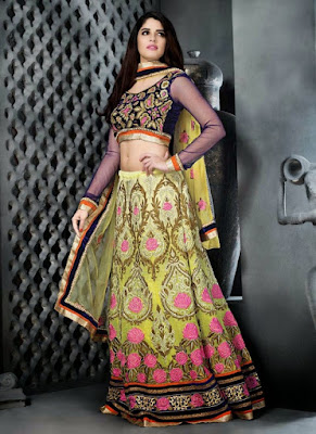 Fancy Style Lehenga Choli Design For Engagement.