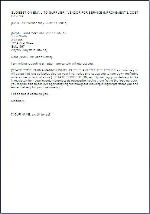 Suggestion Letter Sample For Improvement
