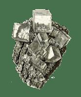 Ilustracion de un cristal en matriz de Fluorita