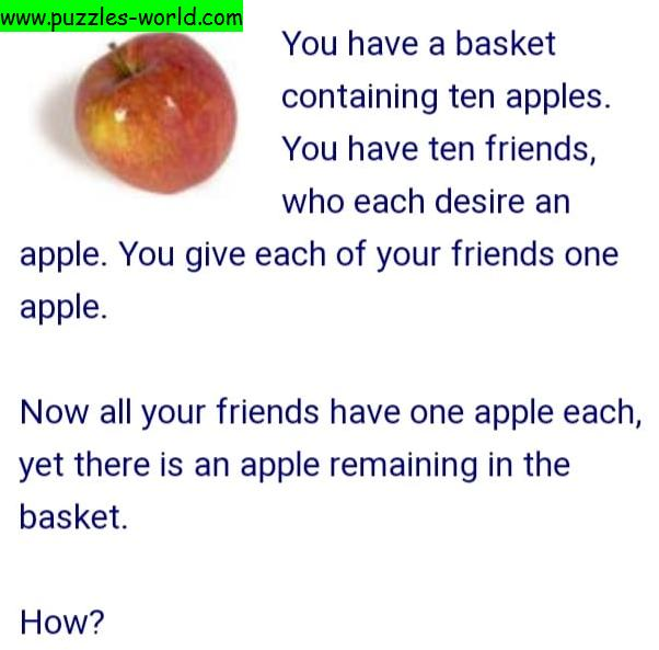 Basket with 10 apples puzzle