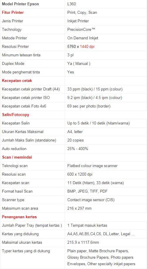 Printer Epson L360 + Driver - ORION COMPUTER