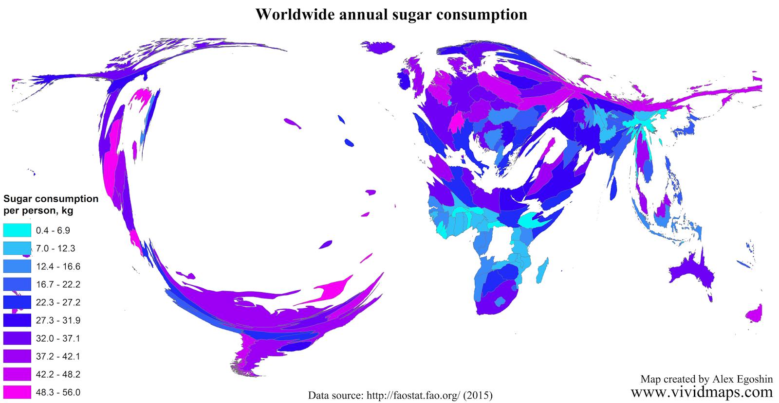 Worldwide annual sugar consumption