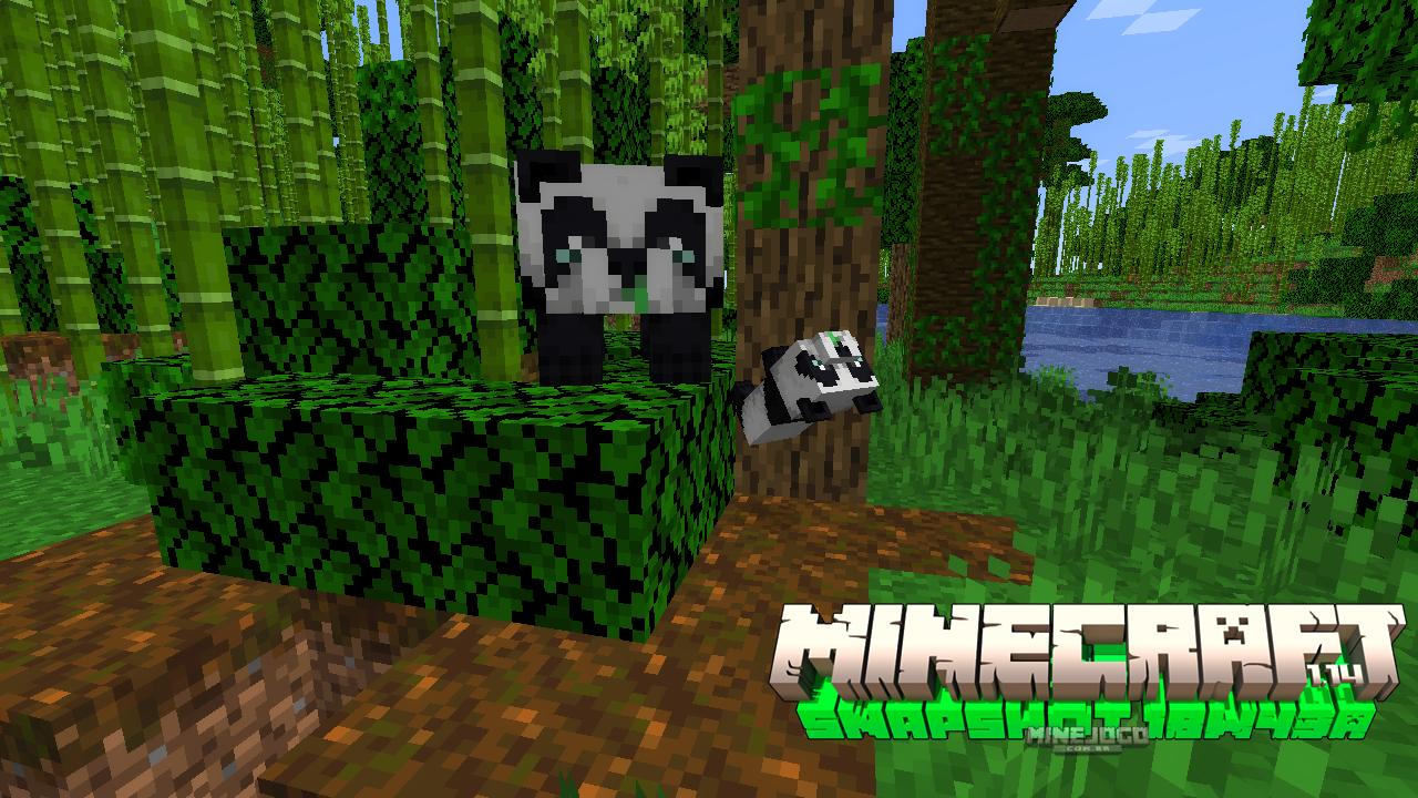 Minecraft Snapshot 18w43a | Um panda adulto e outro panda filhote dando cambalhota