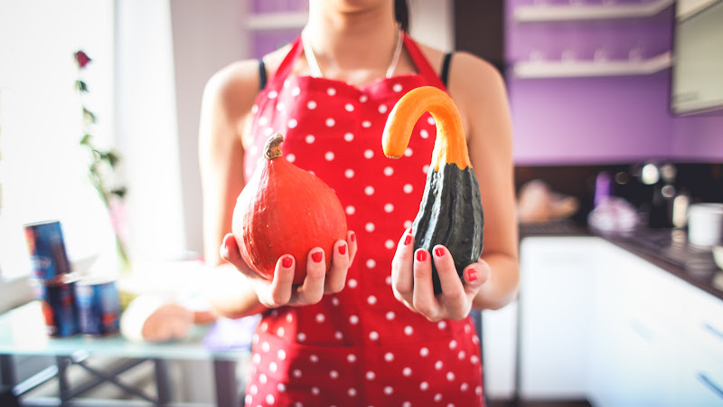 Housewife with Decorative Pumpkins HD