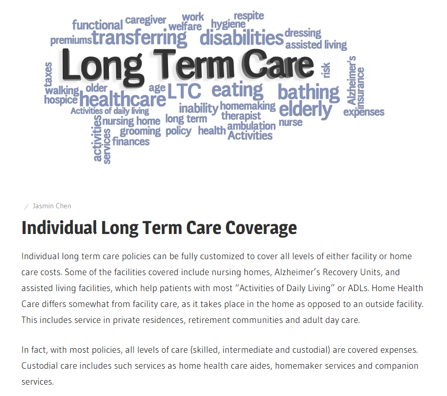 Man Or Woman Long Term Care Coverage
