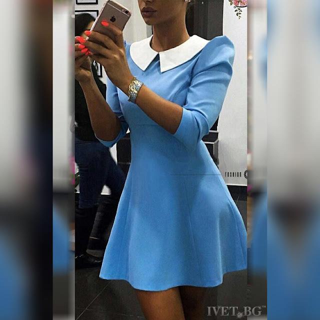 Μακρυμάνικο μίνι γαλάζιο φόρεμα SONAR