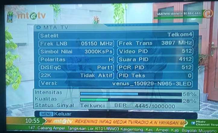 Frekuensi Transponder Sinyal Terkuat Satelit Telkom 4