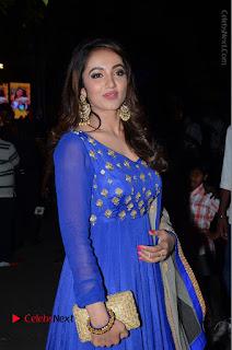 Telugu Actress Tejaswi Madivada Pos in Blue Long Dress at Nanna Nenu Na Boyfriends Audio Launch  0022.JPG