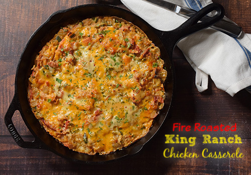 Fire Roasted King Ranch Chicken Casserole cooked on a Big Green Egg kamado grill