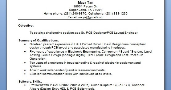 pcb cad engineer sample resume format in word free download