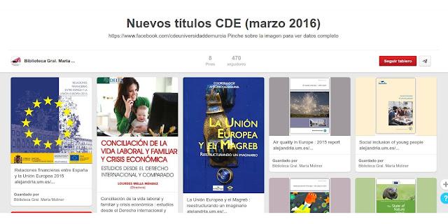 Novedades en el Centro de Documentación Europeo de la BUM. Marzo 2016