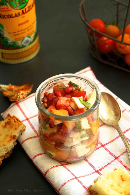 mozzarella , salade fraîche , entrée été , grenade , menthte