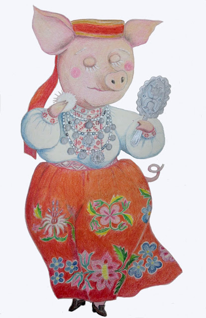 Year of pig 2019 drawing color pencil piggy #lihula national costume flower embroidery