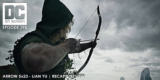Oliver aims an arrow that will relieve him of Lian Yu