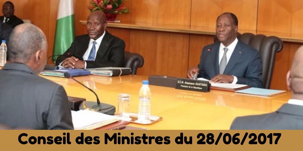 Projets de loi et de décrets récemment adoptés en Conseil des Ministres du 28/06/2017