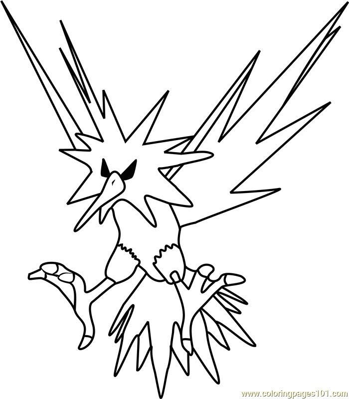 Zapdos Pokemon Coloring Pages Printable