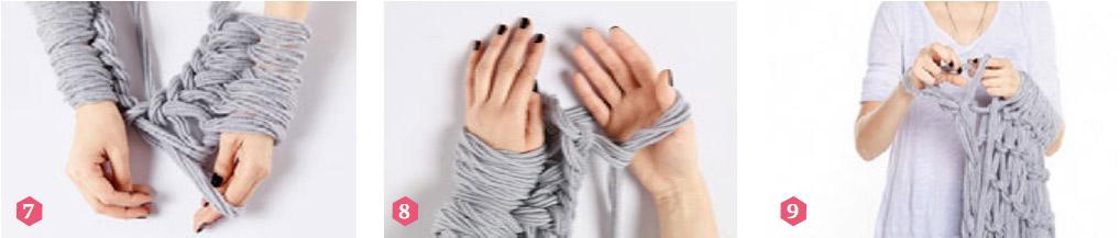 Вяжем шаль руками. Shawl  Arm Knitting