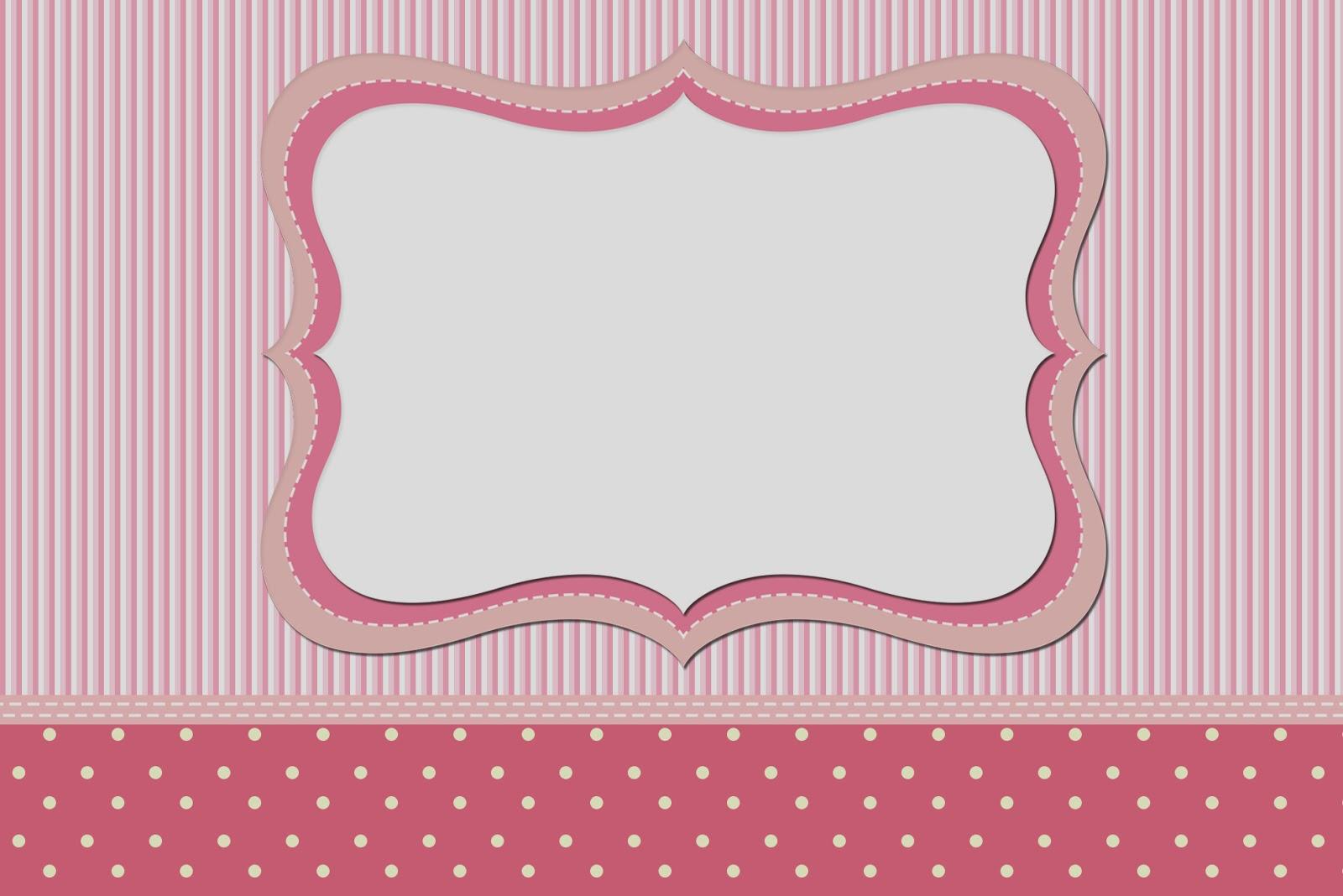 elit templates sticker - rayas y lunares blanco y rosa invitaciones para imprimir