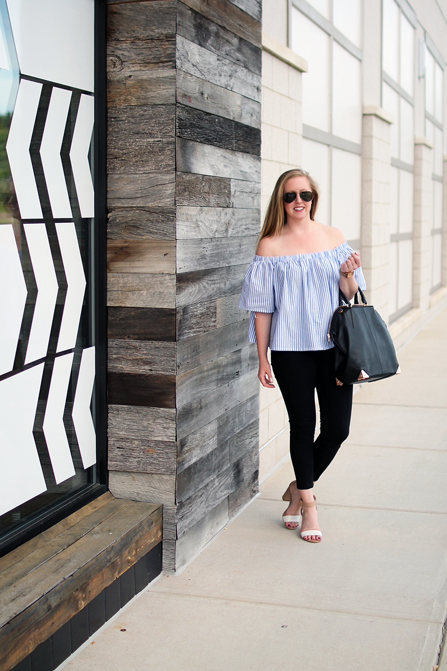 boston blogger looks, boston fashion, market street style blogger, lord and taylor off the shoulder top, highline collective top,