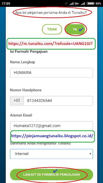 Langkah 4 pengajuan pinjaman tunaiku via link promo tunaiku https://m.tunaiku.com/?refcode=UANG10JT