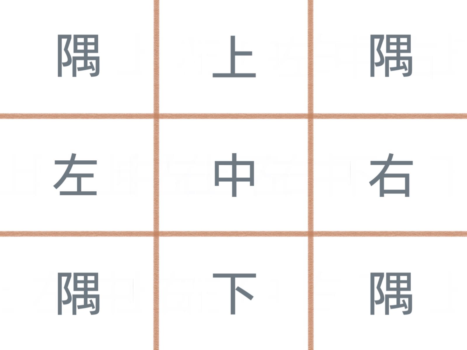 グリッドデザインの3×3(九区画)のレイアウト