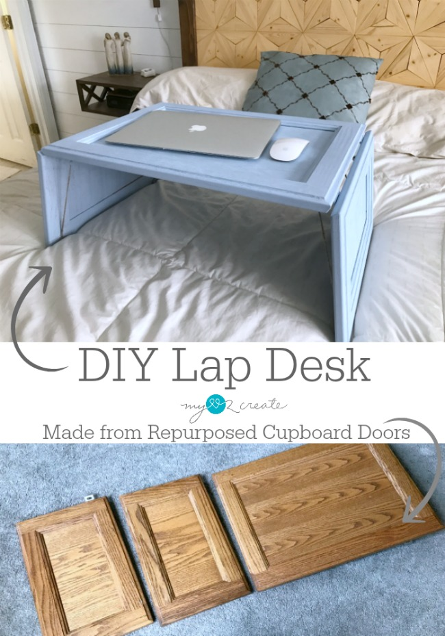 This is so awesome make a lap desk from old cabinet doors!  I am totally doing this!