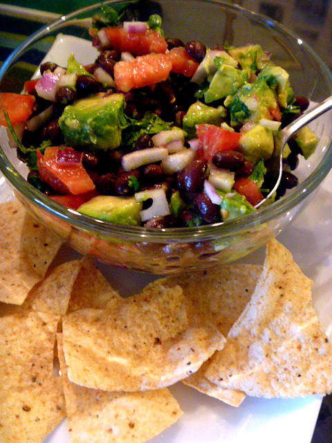 Healthy Black Bean Salsa that is simple and quick to make.  Perfect for any entertaining idea! - Slice of Southern