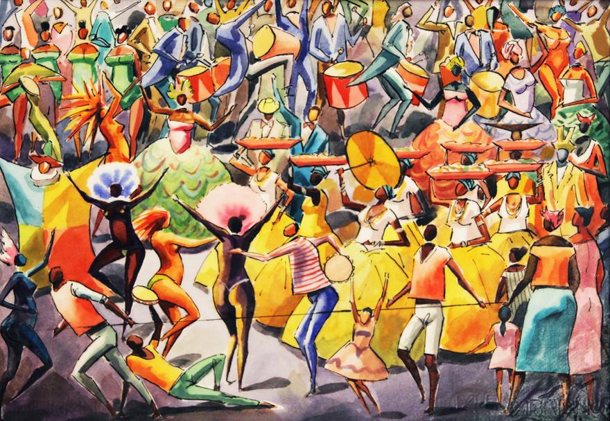 O Carnaval - Carybé | Pinturas com o tema: Carnaval