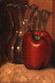 Oil painting of a red pepper beside a tulip-shaped glass vase.