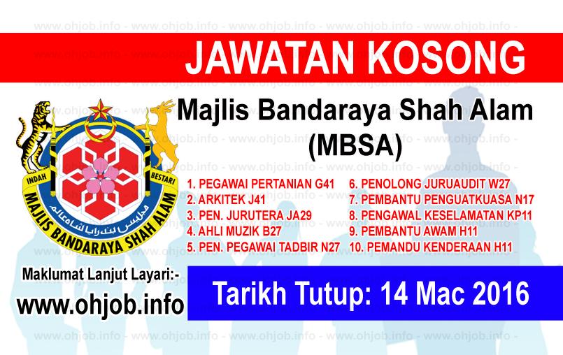 Jawatan Kerja Kosong Majlis Bandaraya Shah Alam (MBSA) logo www.ohjob.info mac 2016