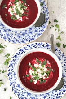 TESTY BEETROOT  CARROT SOUP WITH FETA CHEESE