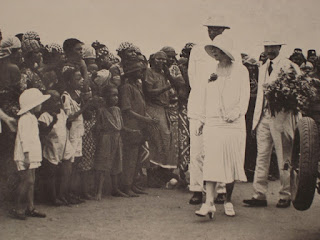 Sepia photograph of Belgian royals visiting the Congo in colonial times.