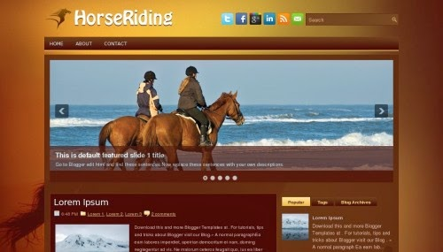 horse riding slider blogger template 2014 for blogger or blogspot 2014 2015,download free blogger brown template,simple blog template,slider blog template,social bookmarks icons 2014 2015