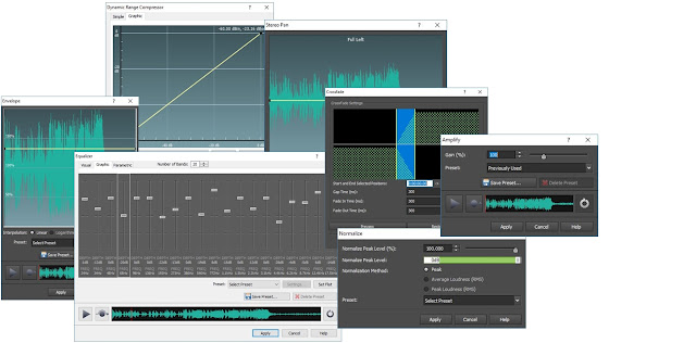 screenshot demonstrating different audio adjustments and controls for music editing