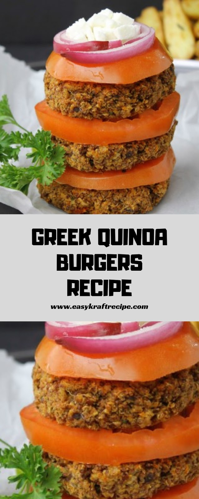 GREEK QUINOA BURGERS RECIPE