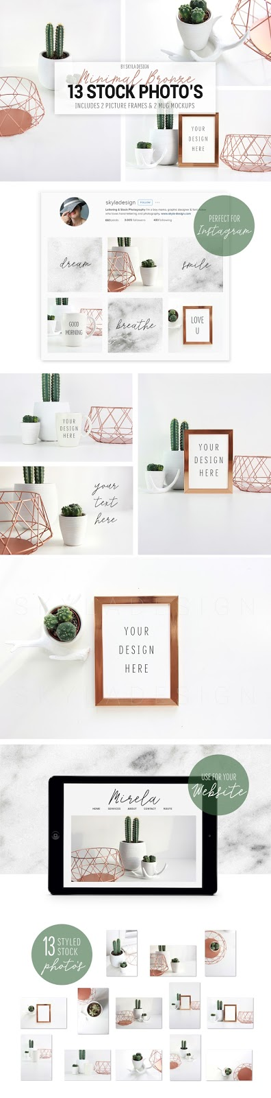 minimal bronze stock photo mockup