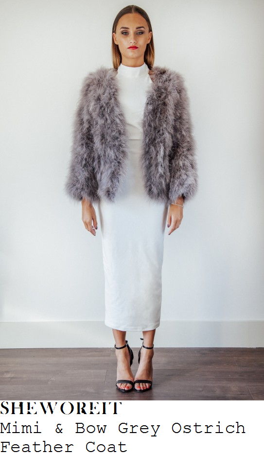 chloe-sims-grey-feather-fluffy-long-sleeve-coat-jacket-towie-lockies-kitchen