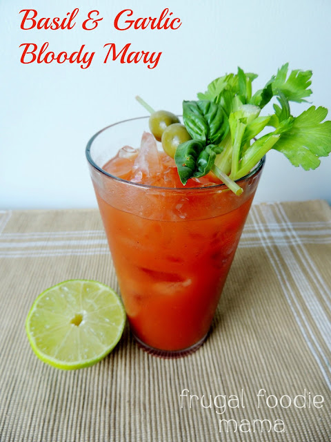 The traditional Bloody Mary gets a little sophisticated & flavorful twist with a super simple basil & garlic infused vodka.