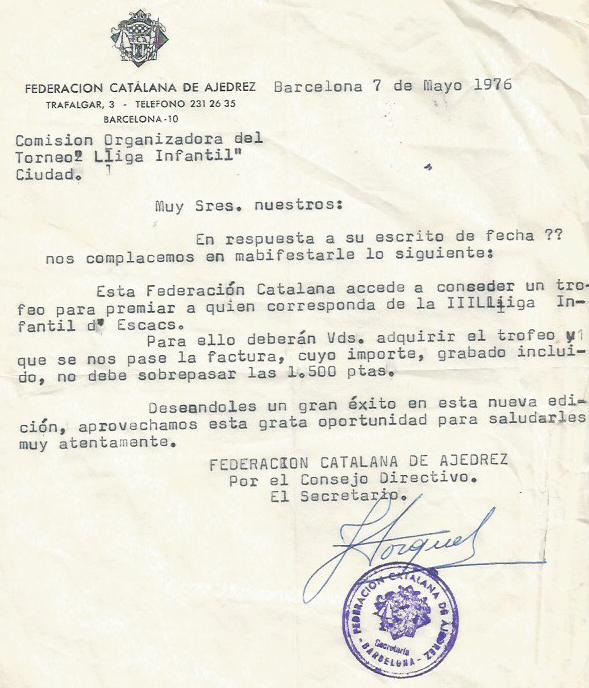 Escrito de la Federación Catalana de Ajedrez sobre la III Lliga Infantil 1976